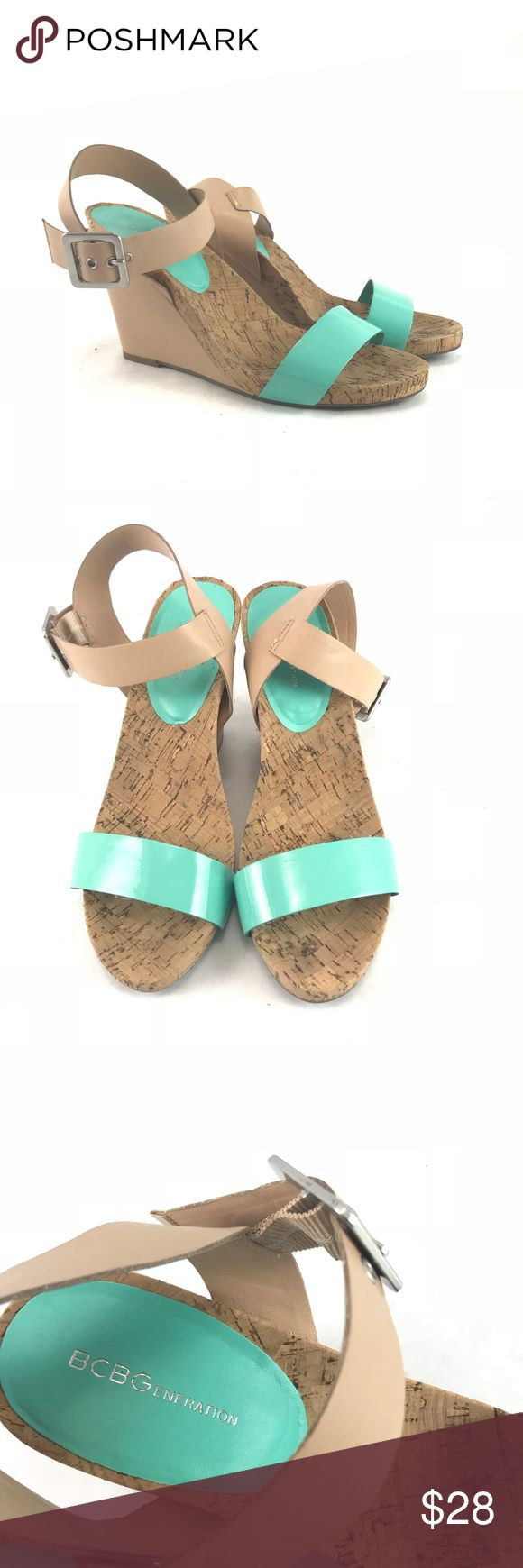 BCBG generation  teal and tan wedge sandals Pre-owned BCBG generation teal and tan wedge sandals.  Woman's sz 9.5.  See pictures for condition BCBGeneration Shoes Wedges