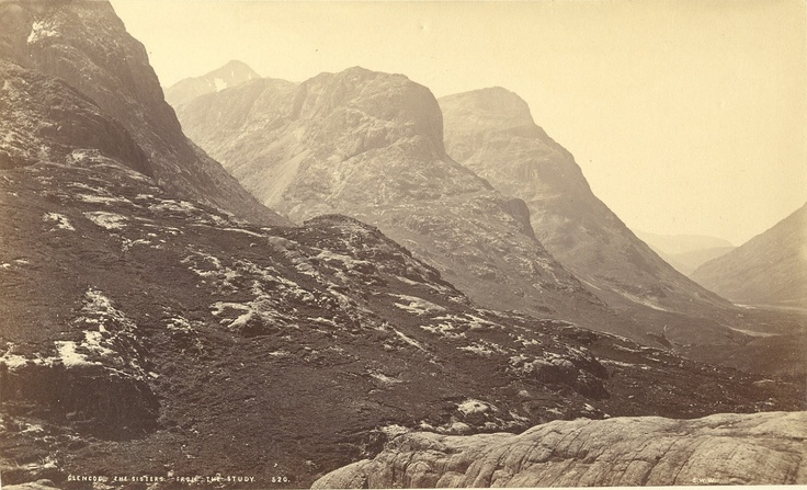 Scottish landscapes. The Sisters from the Study. Glencoe, Scotland, by George Washington Wilson. ca. 1870s.