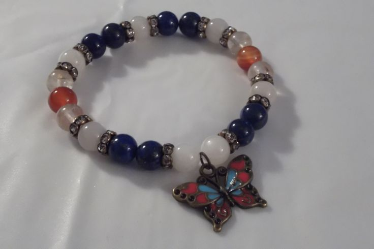 Cloisonne Butterfly & Mixed Beaded Gemstone Stretch Bracelets,Healing Bracelet by HealingAuras on Etsy