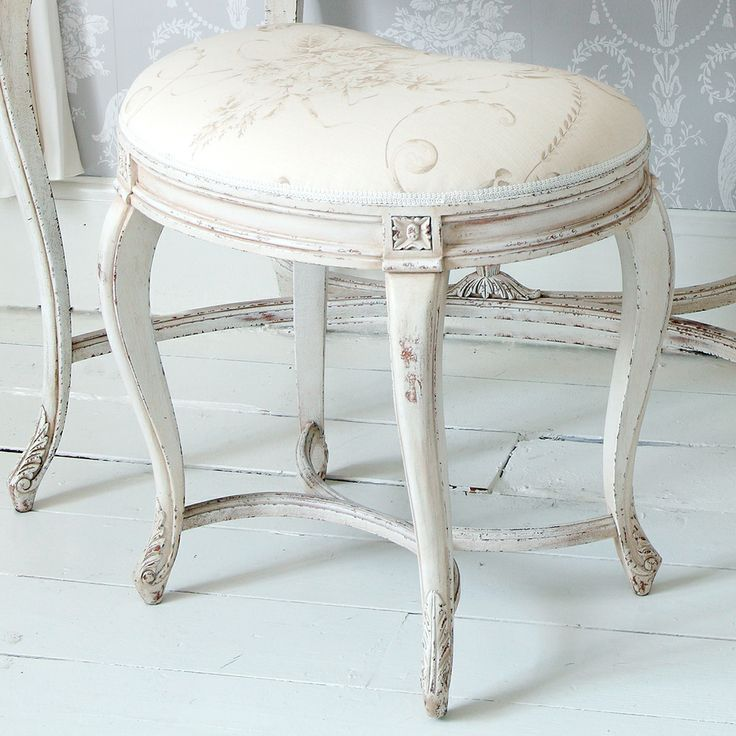 Best Delphine Distressed White Painted Stool French Bedrooms 400 x 300