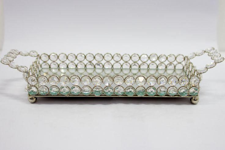 Bandeja retangular de cristal espelhada