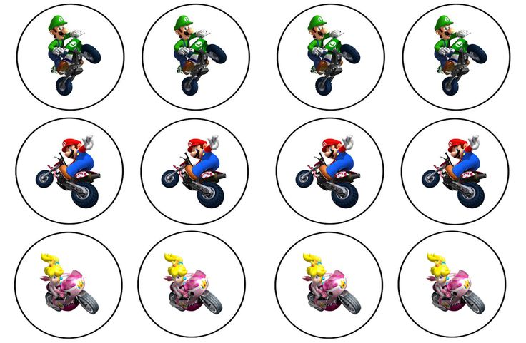 Free CUPCAKE TOPPER TEMPLATE!!! Good for any theme. Add your own graphics.  Mario Kart Wii Cupcake Toppers