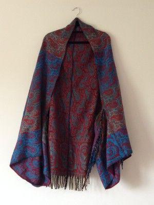 Winter Blanket Paisley Scarf Cape Kimono