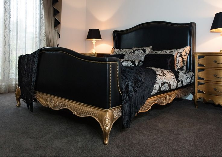 French Style Leather Upholstered Bed with Gold Frame