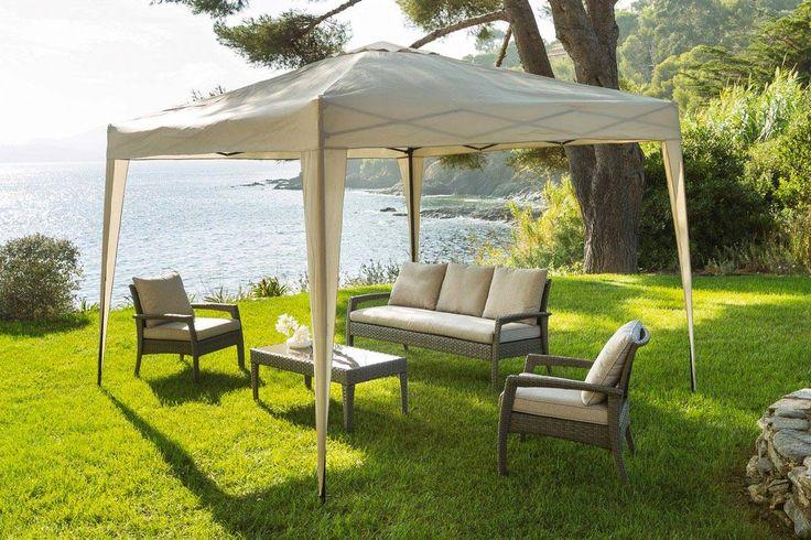 Tonnelle Pliable Easy Up 3 x 3 m - aluminium,polyester - Hespéride sable