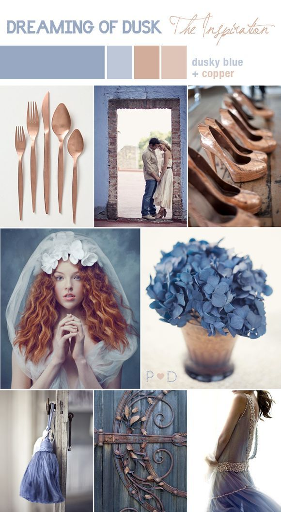 Dusky blue and copper colors for a wedding!  Ashley, this would be beautiful for you with your hair!- RRM