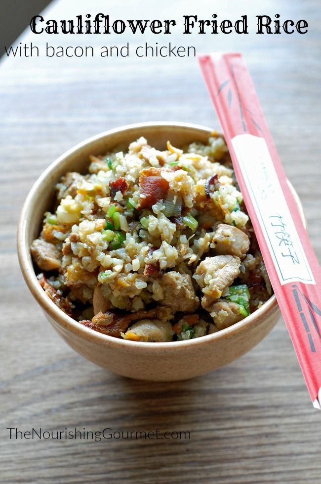 This grain free fried rice is full of flavor from ginger, garlic and green onions, and is filling enough to serve as a main dish with the bacon and chicken. Yum! -- The Nourishing Gourmet