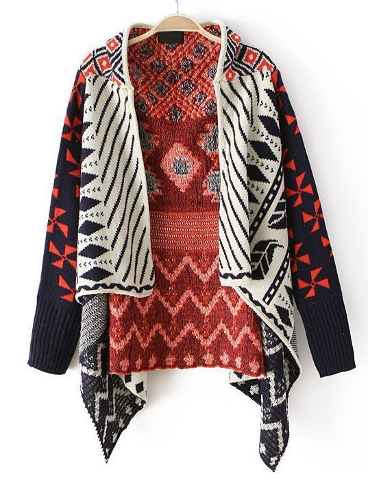 Daily New Fashion : Long Sleeve Tribal Pattern Asymmetrical Cardigan