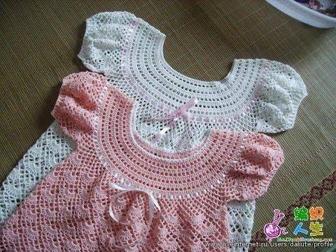 Crochet dress| How to crochet an easy shell stitch baby / girl's dress for beginners 11 - YouTube