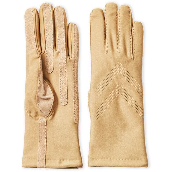 Isotoner Fleece-Lined Stretch Classic Gloves ($9.99) ❤ liked on Polyvore featuring accessories, gloves, beige, lined gloves, fleece lined gloves, leather gloves, isotoner gloves and cashmere-lined leather gloves