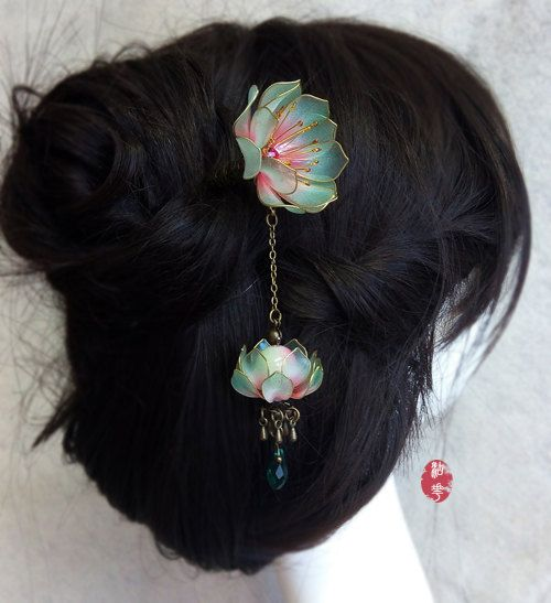 Oriental Vintage style blue water lily/Lotus lamp pendant hair stick /hair comb/ Bridal headpieces/ wedding / Kanzashi/hair clip/hair fork