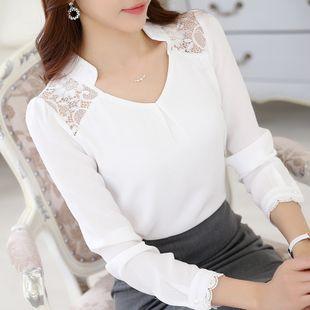 2016 bahar yeni bayan İnce V çiçek bluz perspektif dibe gömlek kanca 2016 İlkbahar ve Sonbahar yeni Kore Alışveriş oyuk kollu dantel bluz şort bahar dalganın uzun kollu gömlek yaka dantel dikiş şifon gömlek Kore versiyonu