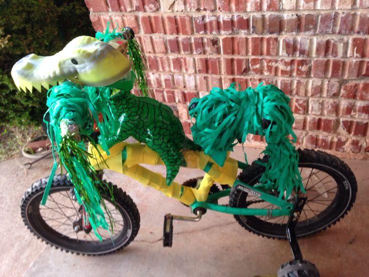 Bike decorating contest: dragon/dinosaur riding the bike