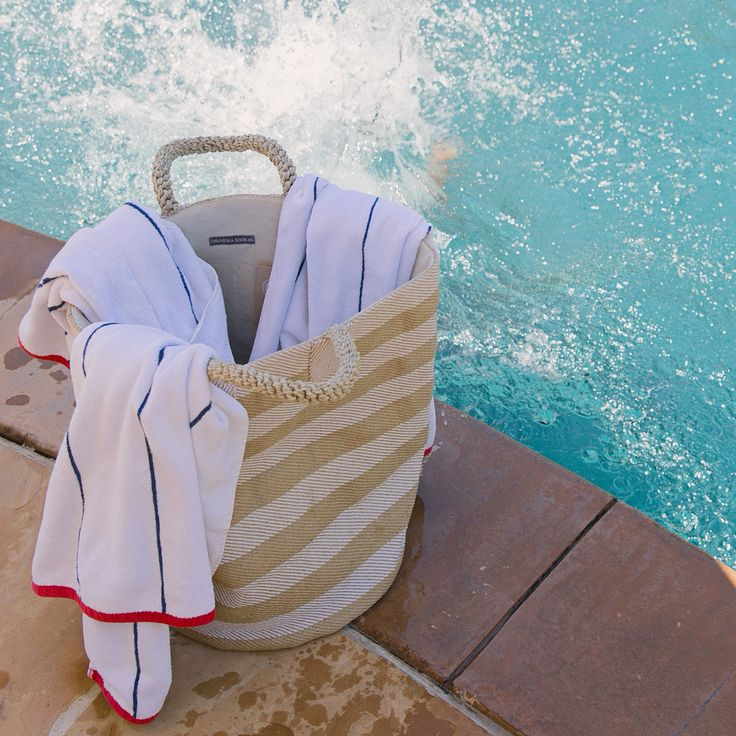 Sunday splash with our Pacific Natural Laundry basket in Thick Stripes.