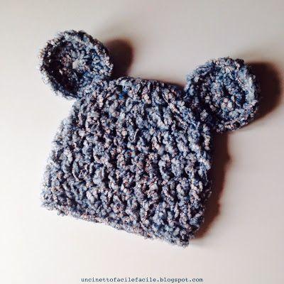 Uncinetto Facile Facile: Cappellino Baby Orsacchiotto - Tutorial cappello e orecchie orsetto schema gratis