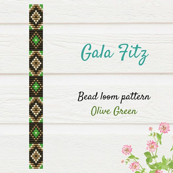 Olive green bead loom bracelet pattern will be the great idea to make some festive bracelet for you or as a gift. The item is a PATTERN in PDF format. The file will be directly downloadable through Etsy. You will see a Ready to download button on their Purchases and Receipt page after