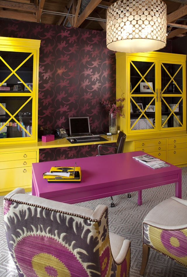 Love the bold color scheme in this fantastic home office