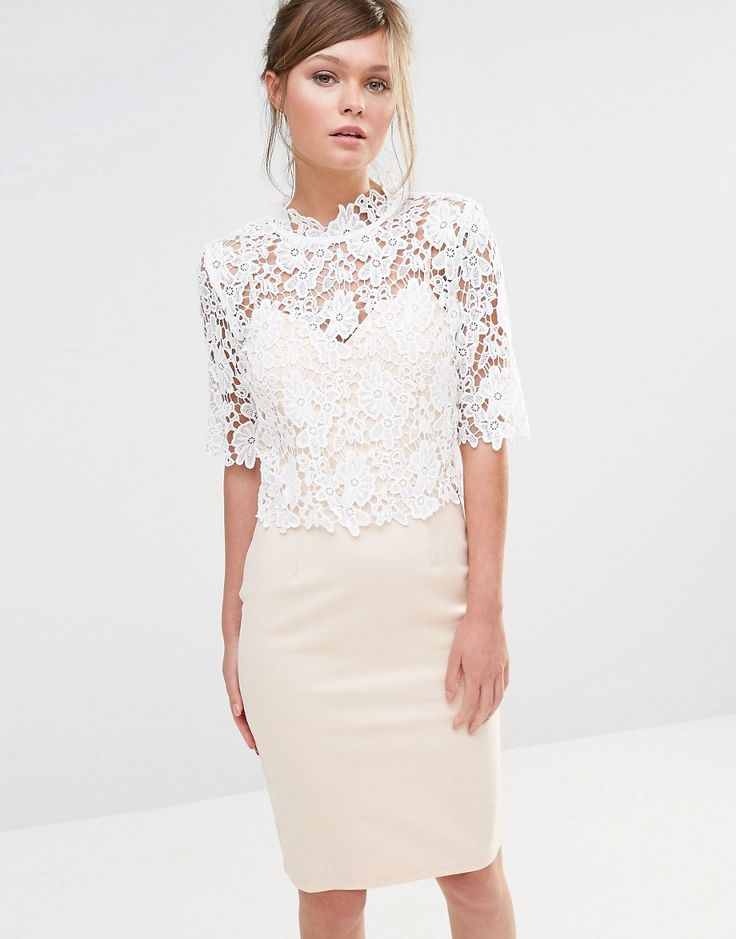 Image 1 of Paper Dolls High Neck Lace Dress with Pencil Skirt