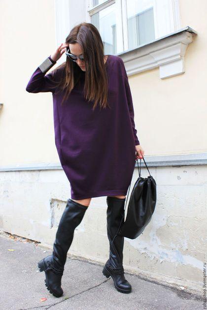 Платье фиолетовое короткое яркое платье сочное платье пурпурный цвет свободное платье нарядное платье теплое платье из шерсти платье из джерси платье на осень платье шерстяное свободный стиль короткое