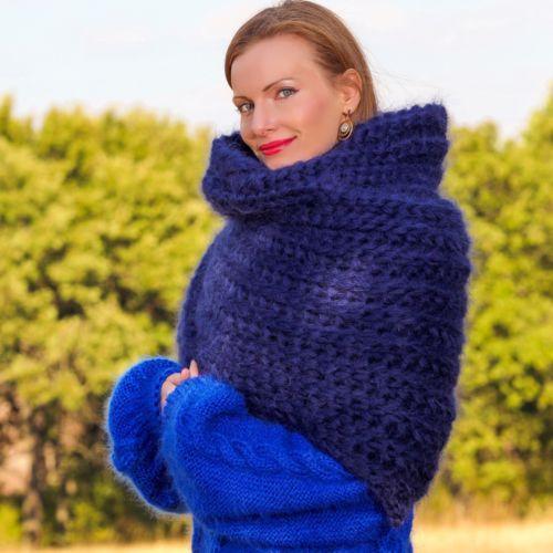 SUPERTANYA синяя рука вязаный мохеровый шарф пушистые удлиненный шаль 5 пряди 1 кг