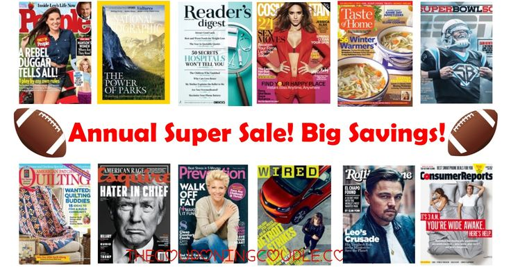 HOT SALE! It's the Discount Mag's Annual Super Sale! Get HOT deals on magazines we rarely see plus great deals on your favorites! People, Reader's Digest, ESPN, and so much more!  Click the link below to get all of the details ► http://www.thecouponingcouple.com/discount-mags-annual-super-sale/ #Coupons #Couponing #CouponCommunity  Visit us at http://www.thecouponingcouple.com for more great posts!