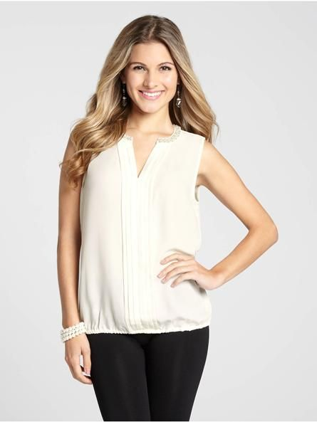 """Laura Petites: for women 5'4"""" and under. With a lovely split neck accented by pearl beads, this gorgeous top hits all the right notes. The pleated front placket and elasticized hem are design details that make it a must-have. Add this to yo...4030336-0197"""