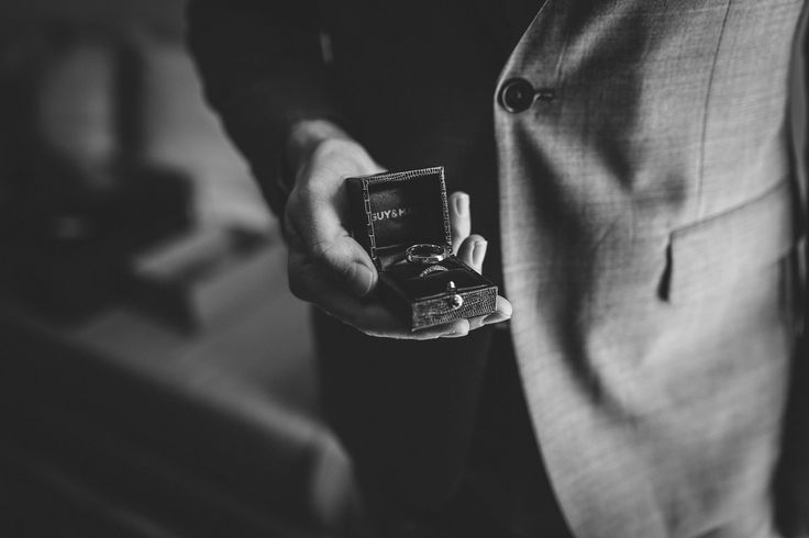 The rings are safe! Photo by Benjamin Stuart Photography #weddingphotography #weddingrings #blackandwhite #willyoumarryme #weddingday #gettingmarried #hisandhers