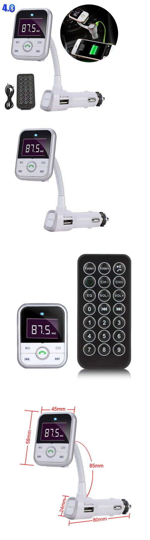 Electronics lcd bluetooth car kit handsfree fm transmitter mp3 player aux usb charger
