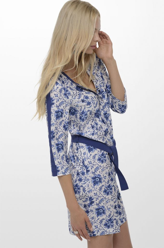 Sarah Lawrence - 3/4 sleeve printed dress with belt.