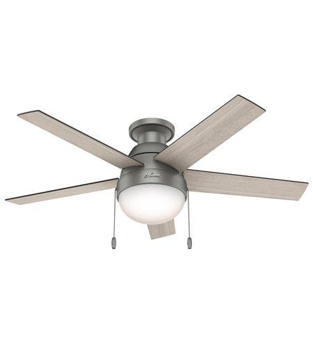 Hunter Fans Anslee 2 Light Indoor Ceiling Fan in Matte Silver with Light Grey Oak/Grey Walnut Blades 59270 photo