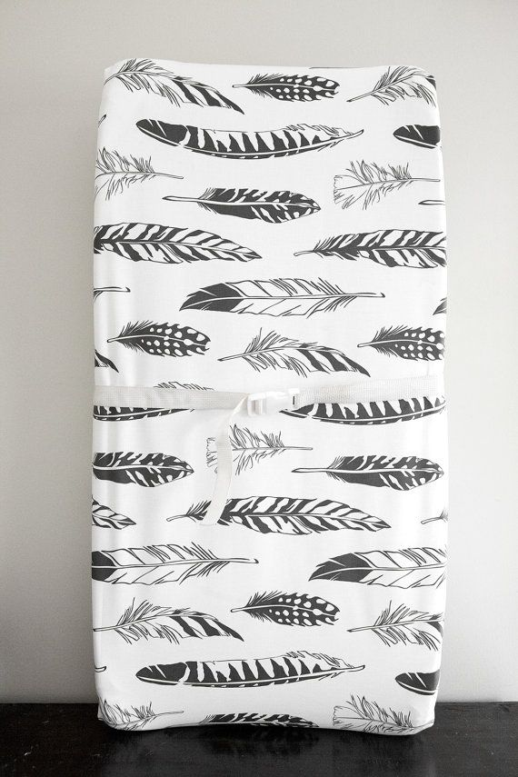 Little Woolf Contour Changing Pad Cover in Black Feather, Gender Neutral, Baby Boy, Baby Girl, Organic, Cover, Black+White Nursery, Woodland