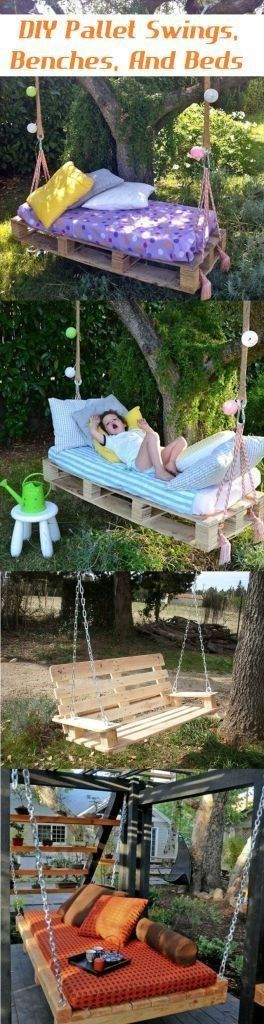 DIY Pallet Swings, Benches, And Beds - Camping Ideas | wish I had a tree sturdy enough to do this.