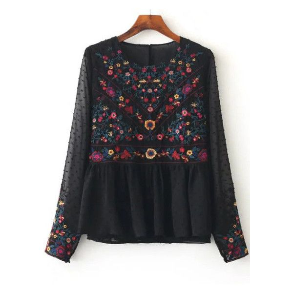 Black Floral Embroidery Mesh Blouse (€28) ❤ liked on Polyvore featuring tops, blouses, mesh top and mesh blouse