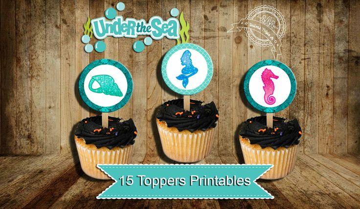 Quiero compartir lo último que he añadido a mi tienda de #etsy: Mermaid cupcake toppers, Mermaid Birthday, Mermaid Party, little mermaid party, Mermaid, Under the sea party, mermaid 1st birthday, toppers http://etsy.me/2AlzzMN