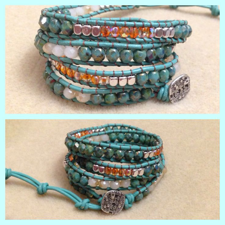 Turquoise leather wrap bracelet with turquoise Picasso bronze firepolished Czech crystals and orange Czech crystals. Orders can be made on Facebook (bracelets by Monika Naumann)