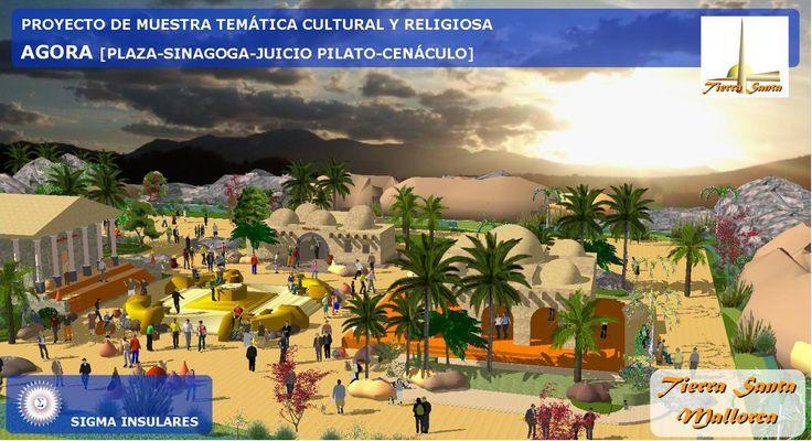 Proyecto temático Tierra Santa Mallorca. Renders de maqueta electrónica en Sketchup. PLAZA CENTRAL, AGORA, JUICIO PONCIO PILATO, SINAGOGA,  CENÁCULO. #Tierrasantamallorca #poblado #artesyciencias #sketchup #maqueta #renders #Palaciodelasciencias #casadegalilea #religiones  #juicioponciopilato #agora #sinagoga #cenáculo