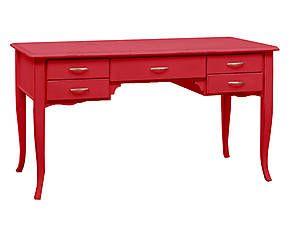 Scrivania in legno massiccio Studio rosso - 150x85x75 cm