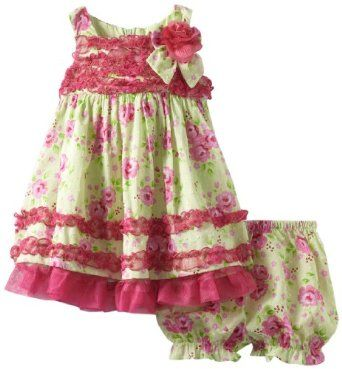Nannette  Nannette Baby-Girls Infant Floral Printed Swiss Dot Dress and Panty Set  4.7 out of 5 stars   (7 customer reviews)  List Price: $46.00  Price: $16.40 & FREE Shipping and Free Returns. Details  You Save: $29.60 (64%)  Size: 24 Months Sizing info  Color: Avocado