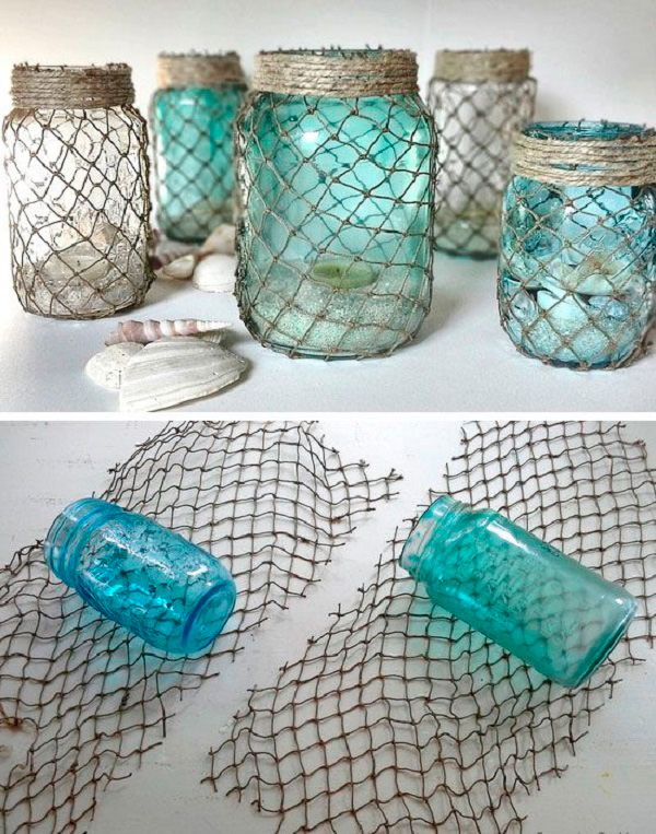 Botellas-decoradas-con-red-DIY-marine-net-bottle