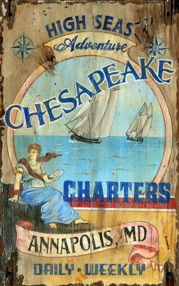 Chesapeake - Vintage Beach Sign