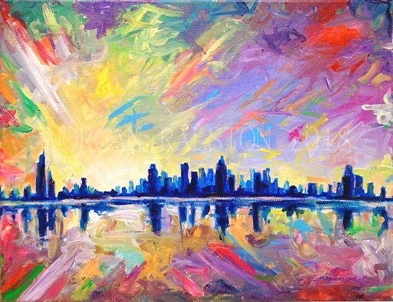 Brilliant Dawn 11x14 Sunset Painting Sunrise City Skyline Colorful Surreal Landscape Painting Art On Canvas Original Acrylic Painting Maalauksia