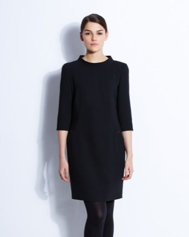 Paul Costelloe Living Studio Barbara dress with sleek lining, statement pockets, high collar and cropped sleeves