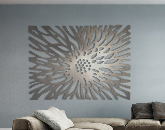 Laser Cut Metal Decorative Wall Art Panel Sculpture for Home, Office, Indoor or Outdoor Use (Flowerburst)