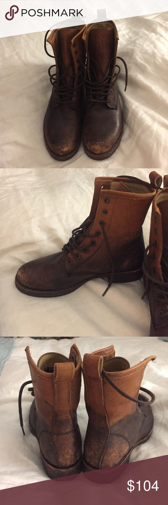 Frye Veronica Combat Boots - 6 Frye Veronica Combat Boots, size 6. Distressed look, cognac color. Worn once, simply don't have a need for them. No trades. Would rather keep them than ditch them for a lowball offer. Frye Shoes Combat & Moto Boots