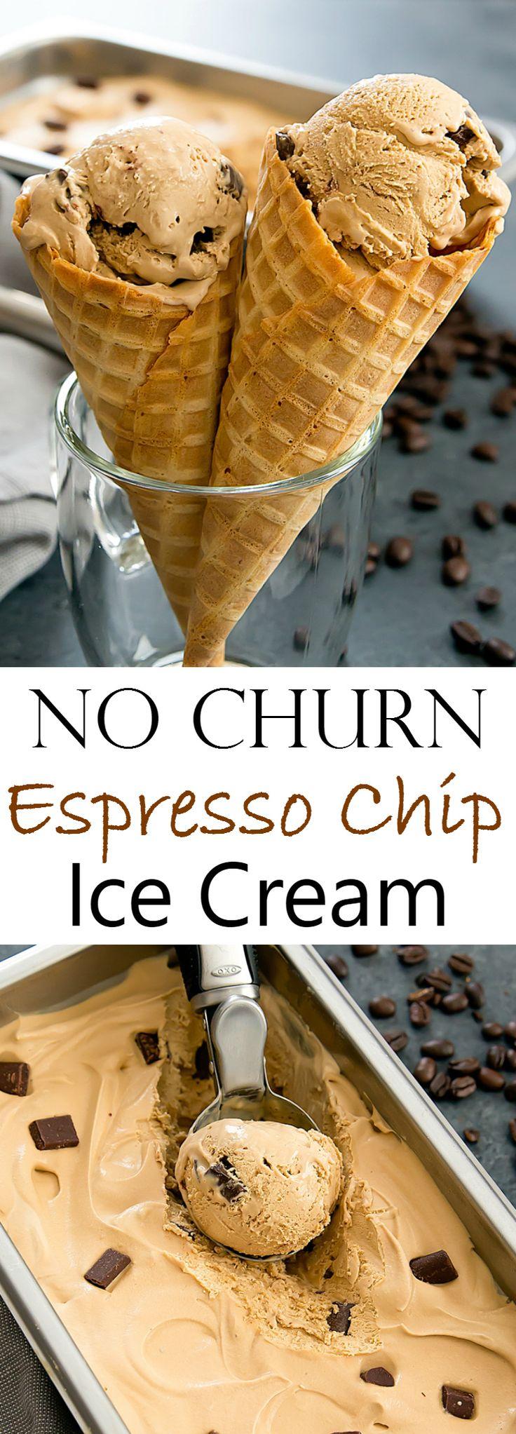 No Churn Espresso Chocolate Chip Ice Cream. Creamy, homemade ice cream that doesn't need an ice cream maker!