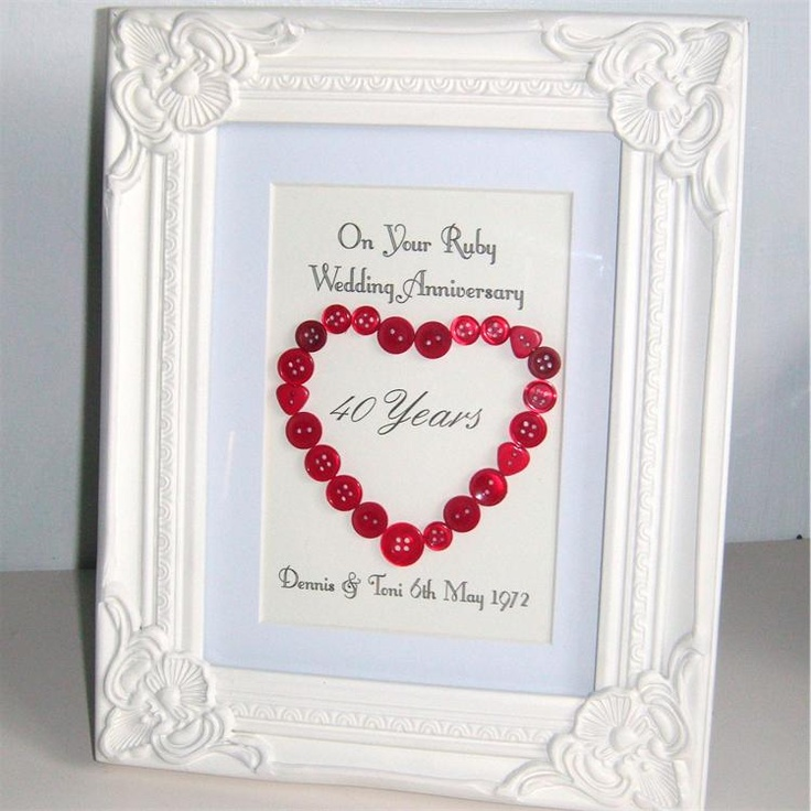Ruby Wedding Anniversary Gift For Parents Uk : Ruby wedding anniversary gift Craft Ideas Pinterest Ruby wedding ...