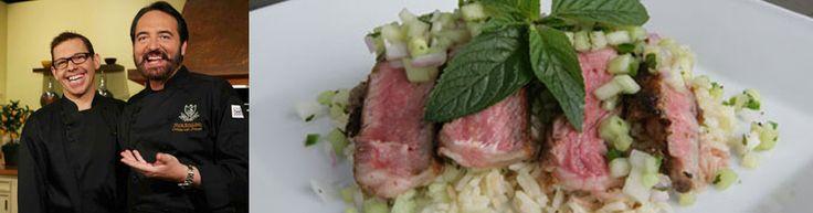 Nick Stellino's Lime & Curry-Marinated Grass-Fed Rib-Eye Steaks with Cucumber & Honeydew Melon Chutney & Spiced Basmati Rice