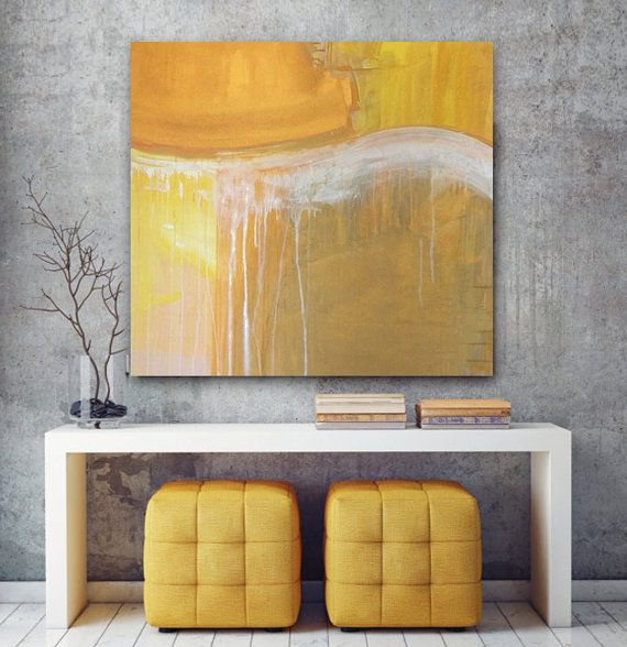 """Large Abstract Acrylic Painting Original Fine Art 36""""x36"""" by Linnea Heide - gold grey neutral - gold drip"""