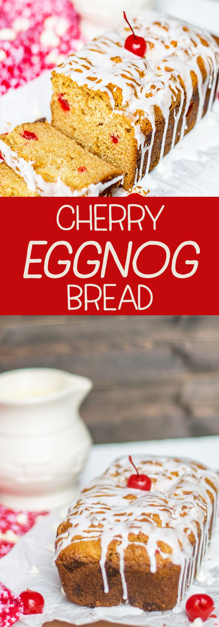 Put a cherry on it! This easy quick bread will satisfy your holiday sweet tooth! White Chocolate Cherry Eggnog Quick Bread will be a holiday favorite!