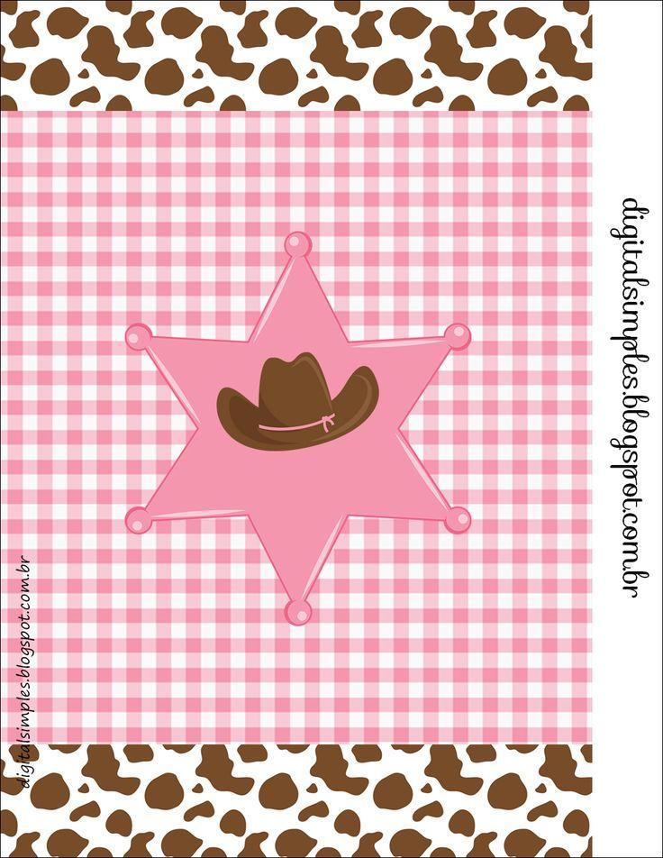 Kit Digital para imprimir gratuito, festa de aniversário Cowgirl, fundo de vaquinha malhada e xadrez cor de rosa.